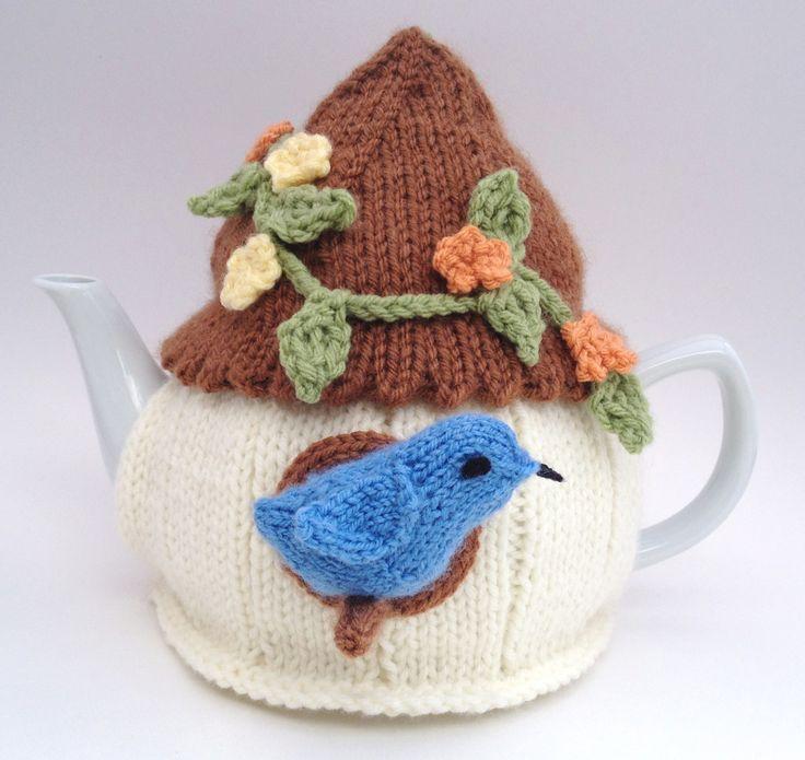 bird house tea cozy for a teapot; handmade by nana@cutiepiehats.com. This birdhouse tea cosy won a County Fair blue ribbon in 2013!