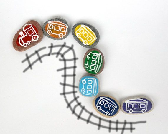Funny Rainbow Train for Kids, Beach Pebbles with Magnets by Happy Emotions, Gift Ideas, Sea Stones, Educational Toys, Rocks