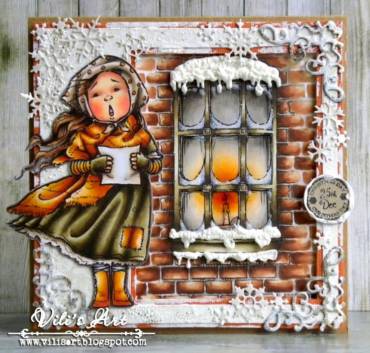 Hello Everyone!I made today's card, using  Maisie Caroling and Winter Window from Mo's Digital Pencil.  More details you can see here. Have a lovely day and thanks for stopping by!Hugs,  Vili xxxx