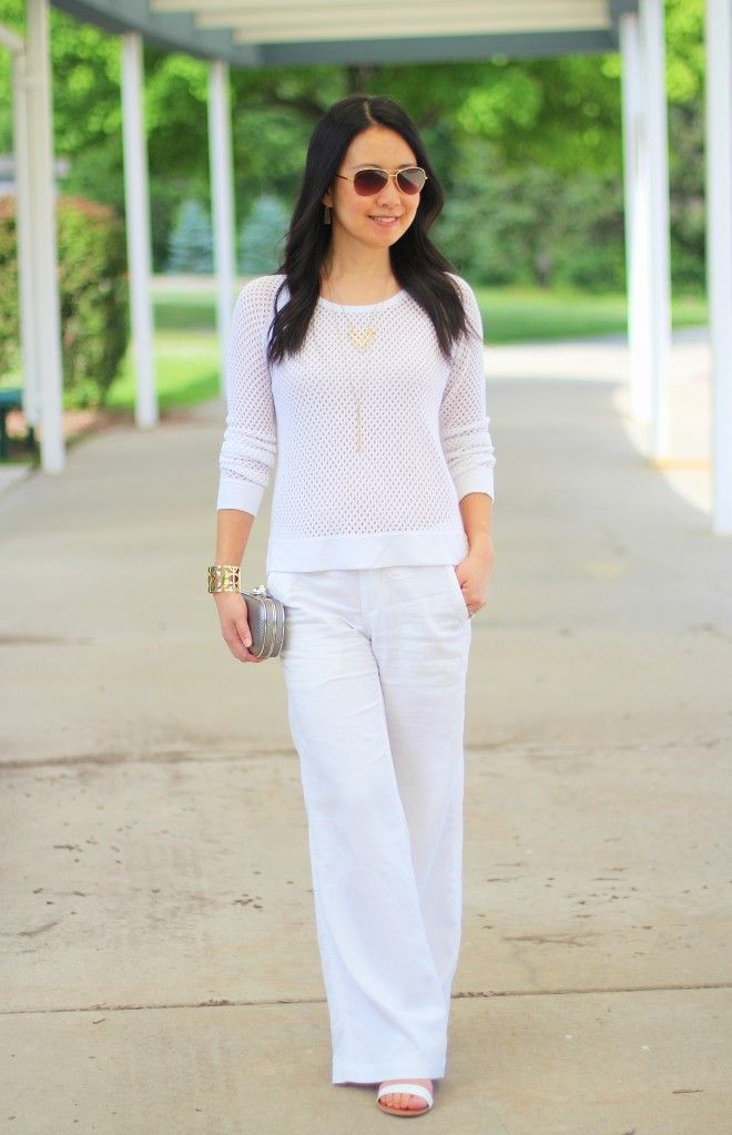 All white outfit for summer or early fall.  http://getyourprettyon.com/guest-post-my-rose-colored-shades/