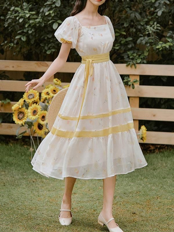 Pastel Handmade 70/'s Clothing Empire Waist Yellow Dress Homemade Small Babydoll Vintage Dress Long Gown Maxi Vintage Clothing