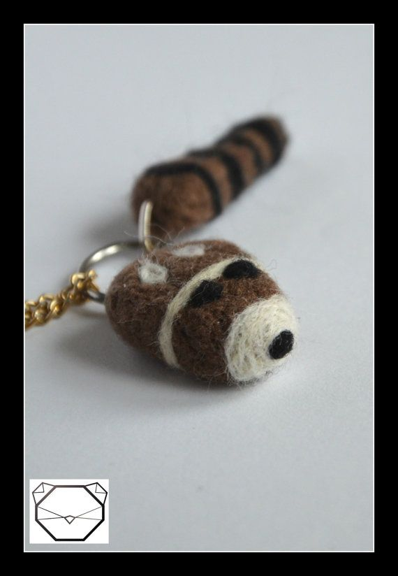 Racoon Necklace  Animal Necklace 3.5 x3.5 cm   by KubuHandmade