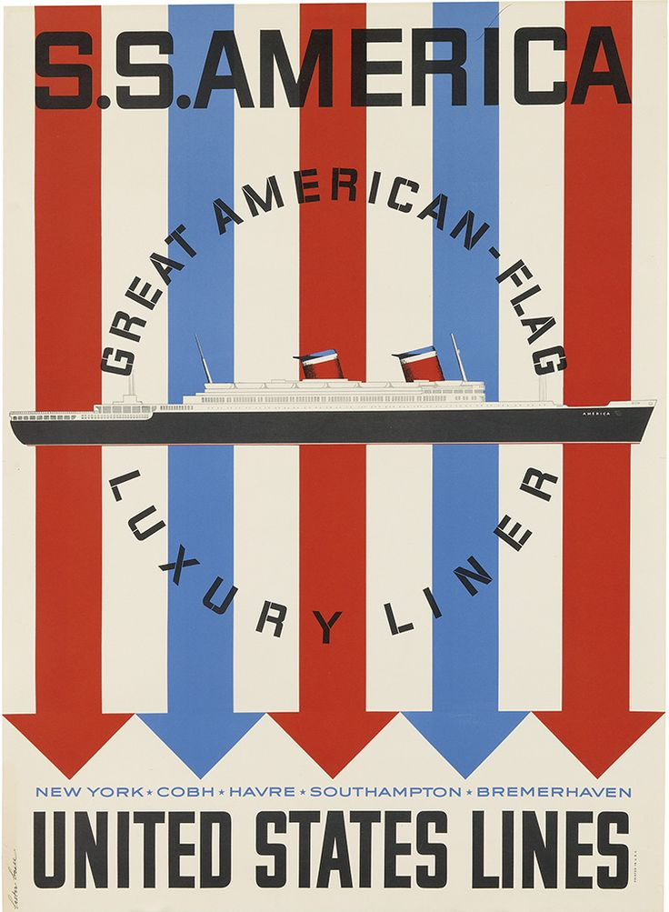 LESTER BEALL (1903-1969) S.S. AMERICA / UNITED STATES LINES. Circa 1952.