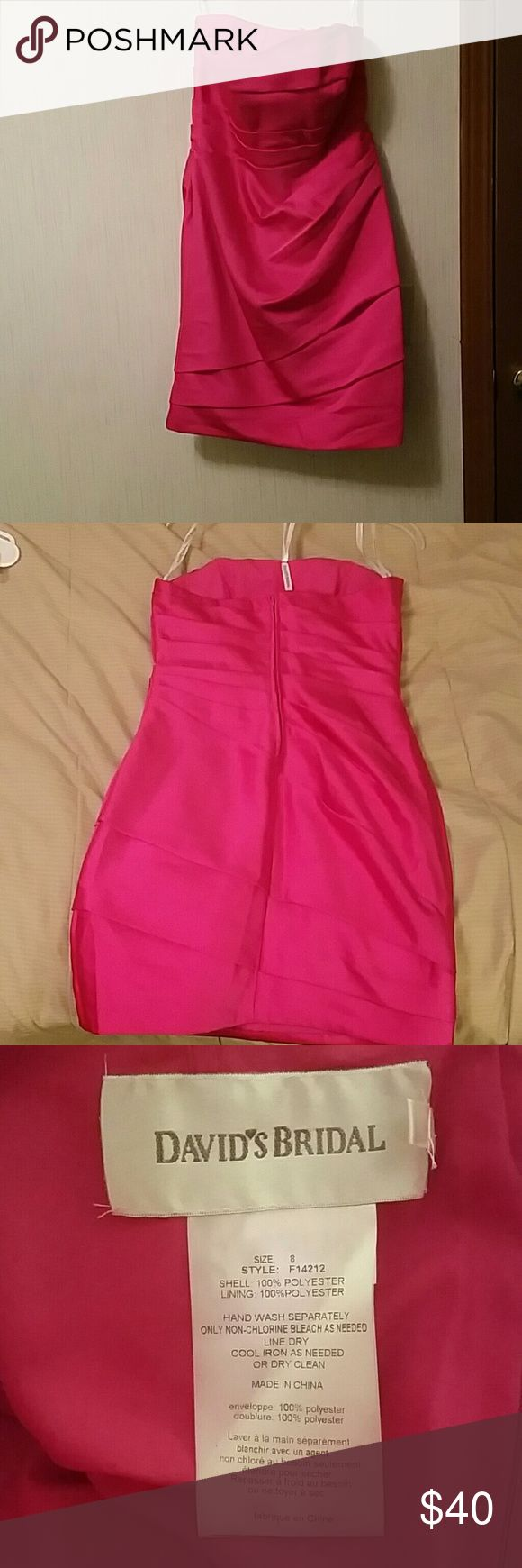 NWOT David's Bridal fitted mini strapless dress NWOT Fuchsia mini fitted strapless dress VERY FLATTERING and gorgeous Davids Bridal Dresses Wedding