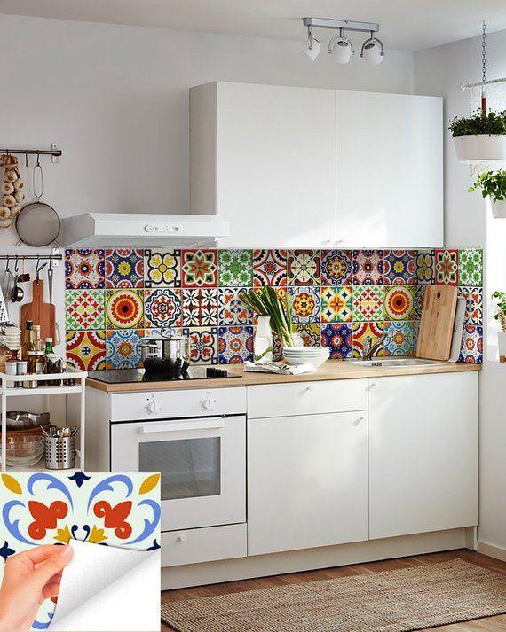 Diy Set Of 24 Vintage Mural Mexican Tiles Decals Bathroom Stickers