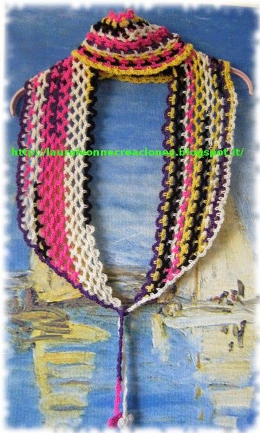 Bufanda o chalina multicolor a crochet para reciclar - Reciclar restos de lana ...