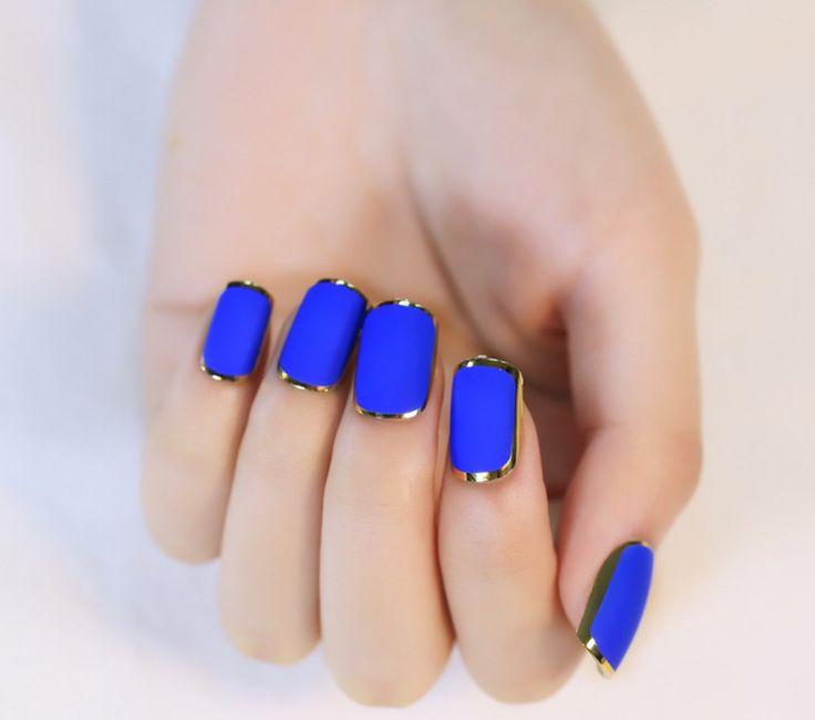 Image result for nails gold blue