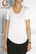 2016 Slim Fit V Neck Women Plain White T Shirt best buy follow this link http://shopingayo.space