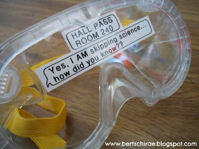 """A funny hall pass for science class! Haha! I wonder how many kids would have """"emergency"""" potty breaks if they had to wear these!?!?"""