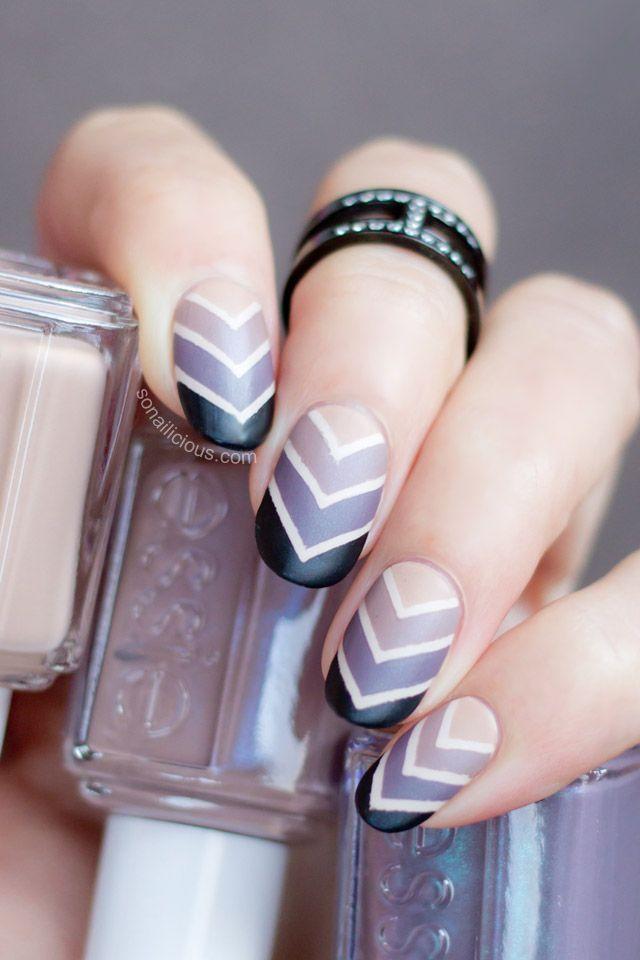Geo gradient nail art.