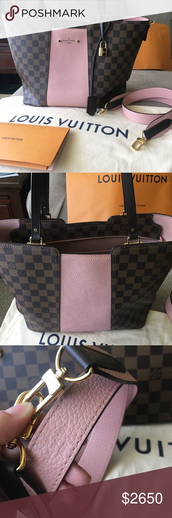 Louis Vuitton Jersey Tote in Magnolia Like New authentic Louis Vuitton Jersey in Magnolia and Damier Ebene pattern. Bag is from May 2017 date code SD1147. Comes with strap, store bag, and receipt with my info blacked out. I also have been using a pink Felt bag liner to protect the interior suede. This can be included as well if you are interested. I have a matching LV Pallas wallet in my closet if interested! Louis Vuitton Bags Totes