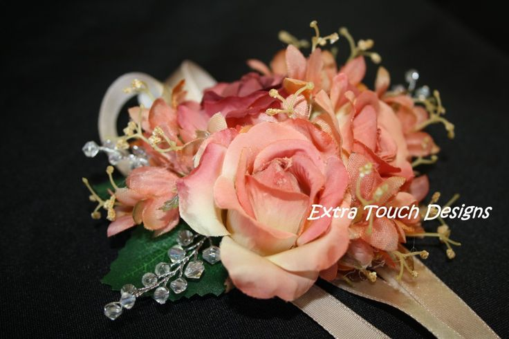 Wrist corsage in apricot colour and crystals