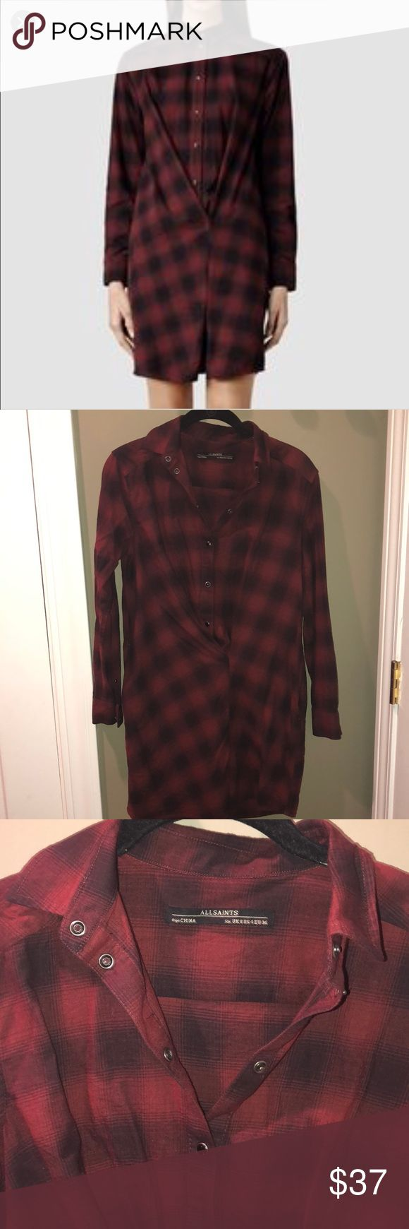 All Saints Flannel Shirt Dress Red and black AWESOME flannel shirt dress by All Saints. Side pockets, cool cross over detail, 100% cotton. Gently worn, no flaws. US size 4. All Saints Dresses