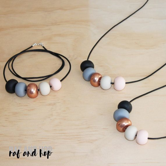 Polymer clay bead necklace. Black grey rose gold glitter by RafHop