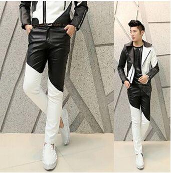 저렴한 무료 배송 패션 2015 펑크 검은 색 모조 흰색 패치 워크의 소년 마른 남성 가죽 바지 남성 바지 멋진 바지 조깅, 구매…