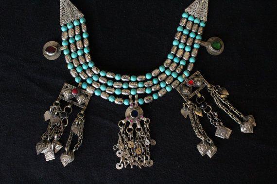 collar etnico boho tribal necklace kuchi afghan por azulcasinegro