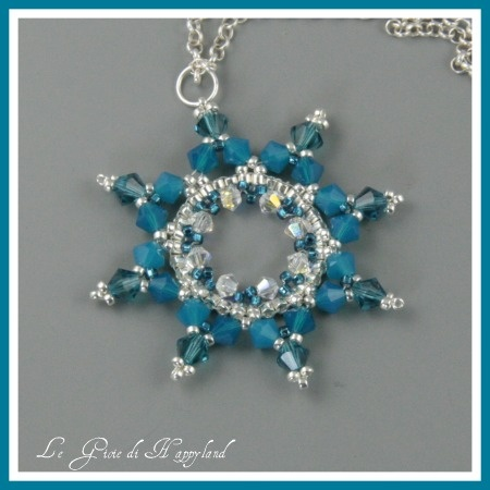 The joys of Happyland - patterns: Charms / pendants / I wonder if this could be adapted to 6 points like a snowflake......