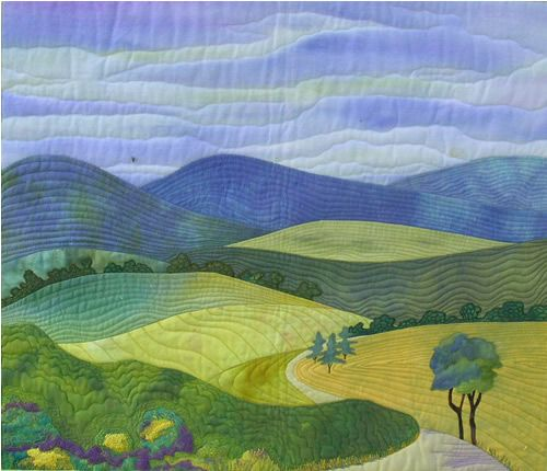 landscape quilt.   Oh I love how simple and calming this one is.