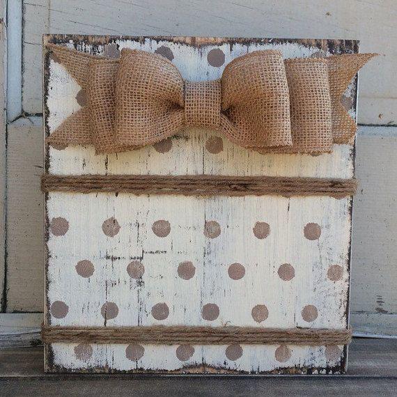 Ivory Polka Dot Frame,Rustic Wood Block Frame, 4 x 6 or 5 x 7 Frame, Burlap bow, Twine
