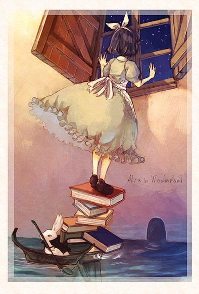 Alice in Wonderland [Artist/Origin/Source Unknown]. Pool of tears, Rowboat, White Rabbit, Stack of books, Garden door, Window,
