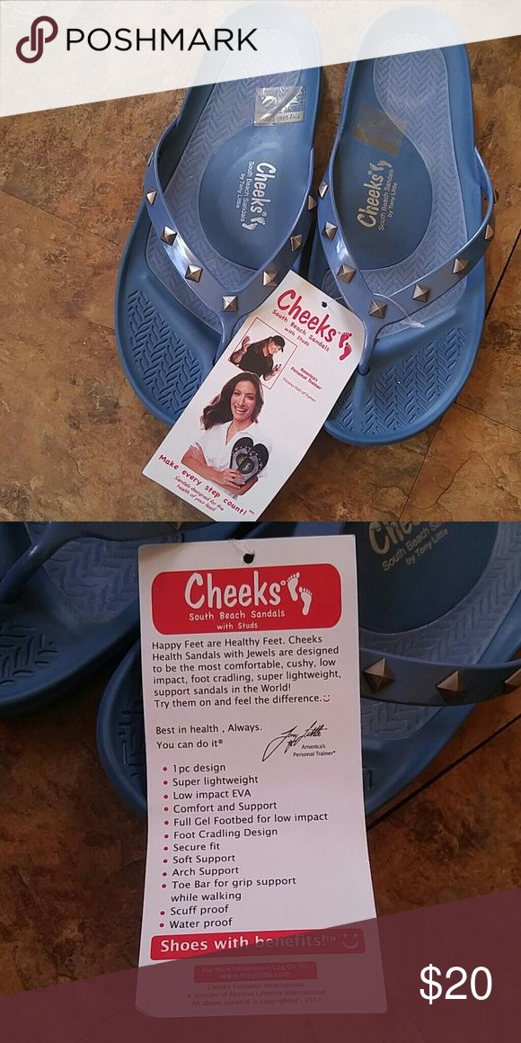 Cheeks South Beach Sandals Brand new never.worn.The best flip flops I ever wore. Super cushy with evey step. I'be had mine for a year and they are still cushioned with  every step. Tony Little Cheeks - HSN Shoes Sandals