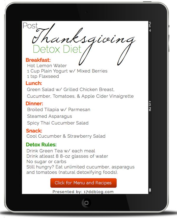 "Feeling ""stuffed"" with too much Thanksgiving holiday treats? No fear, here's a Post-Thanksgiving Detox Plan for the 17 Day Diet (PIN NOW for menu and recipes)!"