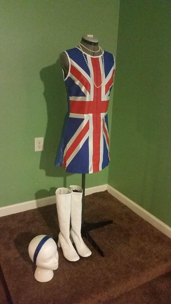$14.95 3 pc Sexy 60s Austin Powers Union Jack British Invasion Hippie Mod Dress S M