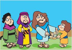Lección y actividades para contar uno de los milagros de Jesús, relatado en los cuatro Evangelios, la multiplicación de los panes y de los ...