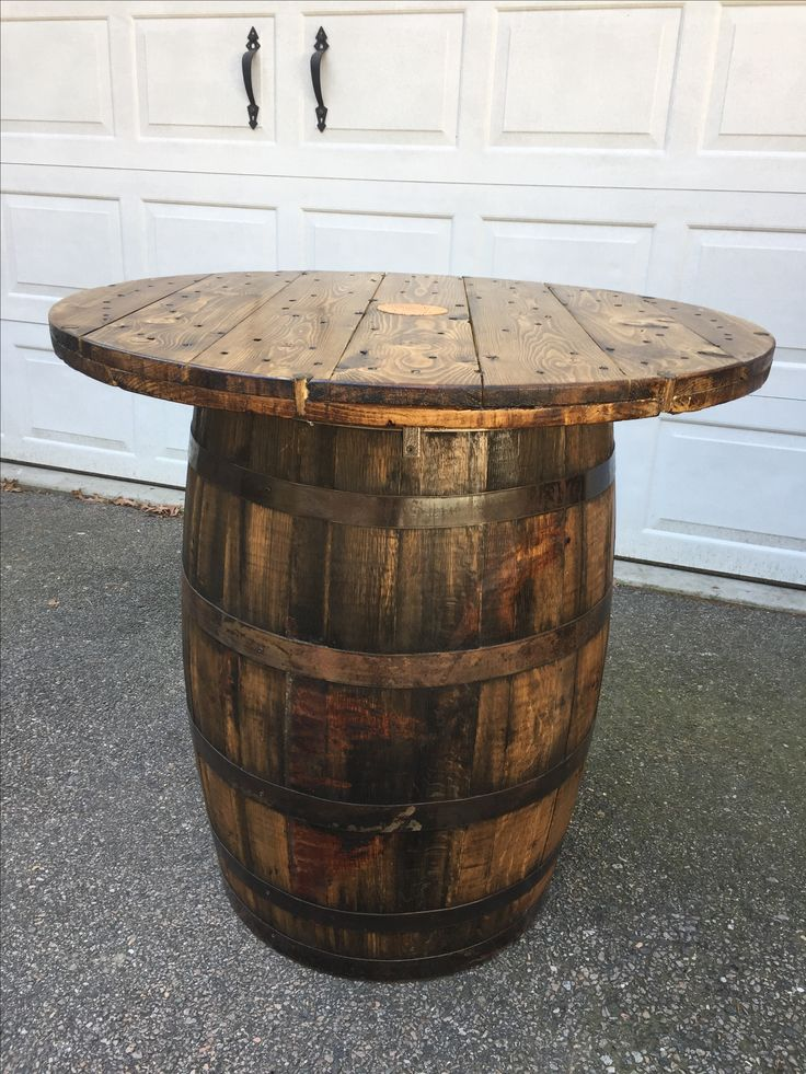 This is a 53 gallon Jim Beam Whiskey barrel and a wire spool end that I converted into a gorgeous whiskey barrel table. Check out our Facebook page at Lynthia Designs & Country Chic Weddings.
