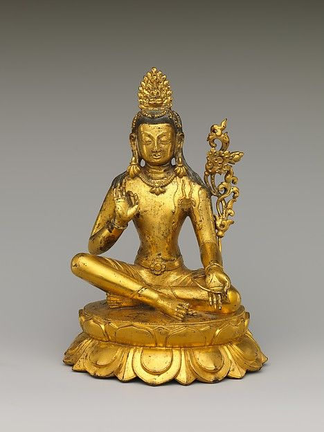 Seated Avalokiteshvara, the Buddha of Infinite Compassion Date: 17th century Culture: Tibet or Mongolia Medium: Gilt copper alloy