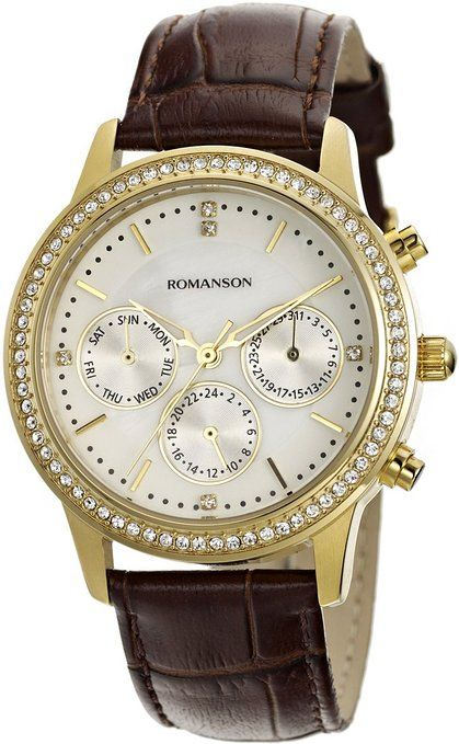 Romanson Women's Swiss Quartz Day, Date & Dual Time Function Watch With Luminous Hands  For 15% off, enter code at checkout!: JQLPH29F