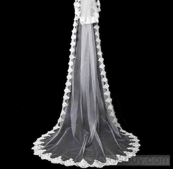 US$74.99 Fascinating  Cathedral Length White Lace Wedding Veil. #Cathedral #Cathedral #White #Fascinating