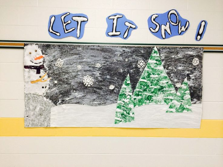 Let it Snow Hallway Display Snowman created with a shaving cream & glue mixture, buttons, paper & fabric.Trees created by cutting out white paper sponge painted using light & dark green paint. The snow on trees is the same to create snowman. Background- black bulletin board paper painted with an Epsom salt & water mixture,cut the snow hill & glued to black paper before painting with Epsom salt, cut the snowflakes out of white construction paper & used fishing line to hang from push pins at…