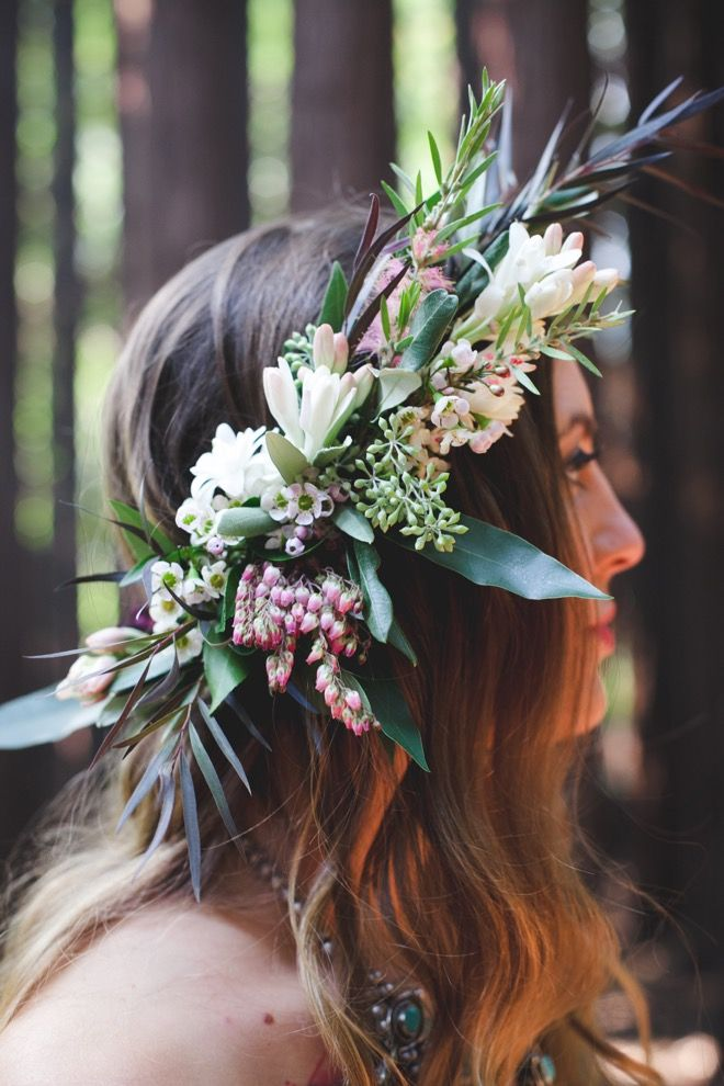 Tuberose Floral Crown by California Sister Floral Design Co. Photo: Michelle Feileacan