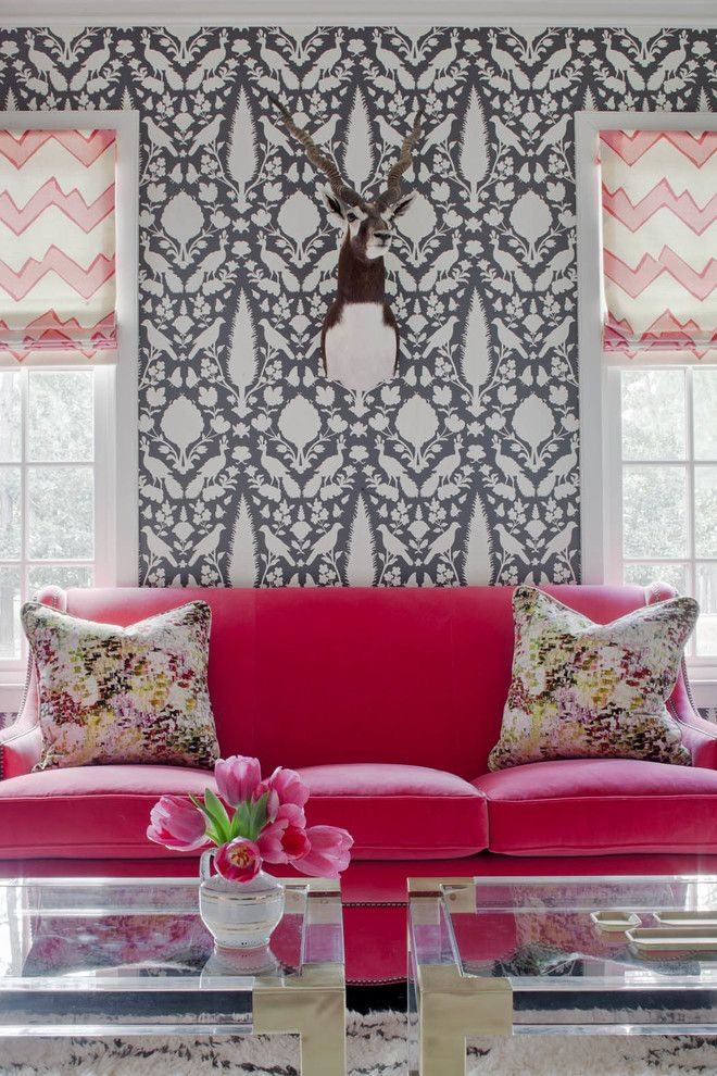 Bright Pink Couch, White And Grey Wallpaper, Taxidermy, Fresh Flowers,  Glass Coffee Pictures