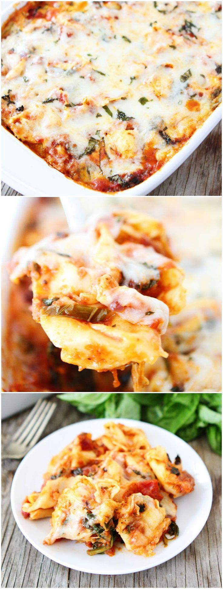 Easy Cheesy Baked Tortellini Recipe on http://twopeasandtheirpod.com Love this easy pasta bake! It's great for weeknight meals or easy entertaining!