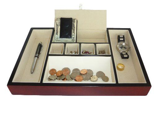 Cherry Wood Rosewood Valet Tray Desk Dresser Drawer Coin Case Catch-All For Keys, Phone, Jewelry, Watches, And Accessories, 2015 Amazon Top Rated Dresser-Top Organizers #Home