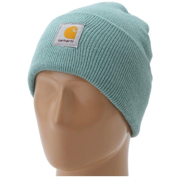 Carhartt Acrylic Watch Hat (Coastline) Caps ($10) ❤ liked on Polyvore featuring accessories, hats, acrylic beanie hat, acrylic beanie, carhartt beanie, acrylic hat and logo caps