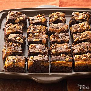 If you've never tried pumpkin and chocolate together, give the duo a go in this irresistible and easy recipe for marbled chocolate-pumpkin brownies. P.S.: Flag this brownie recipe for the holidays--they make a great addition