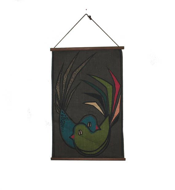 Cute vintage retro Tapestry with colorful love Birds. Designed