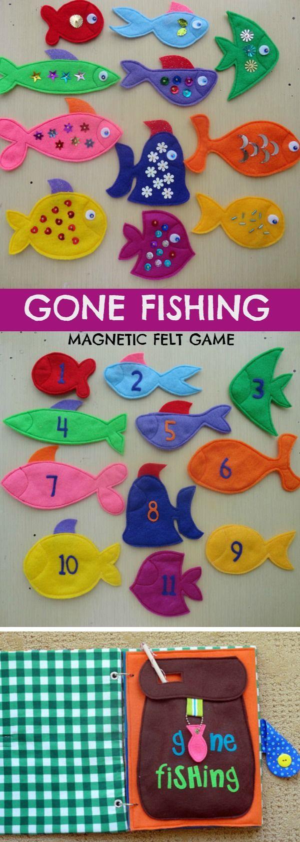Gone Fishing Magnetic Felt Game, PDF Pattern #felt #quietbook #game #busybags #preschool #preschoolers #prek #toddler #affiliate