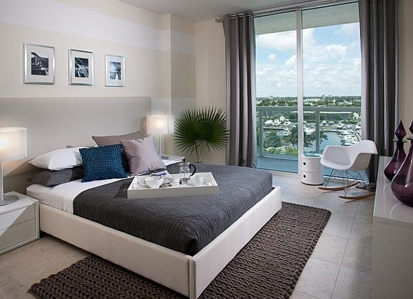 modern interior design elegant bedroom in neutral colors decorative pillows