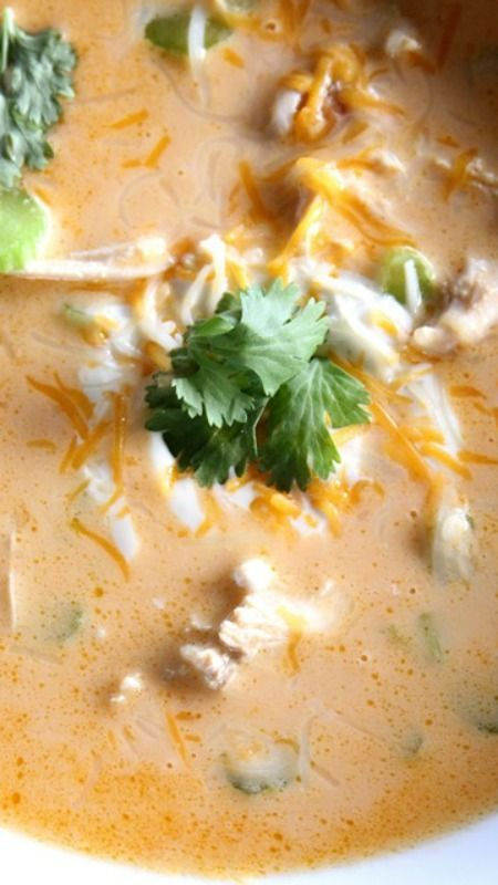 """Low carb soup recipes Buffalo Chicken Soup (Low Carb) Recipe ~ it's crazy delicious.  """"This is going to be my new fave!"""" 6 cups chicken stock 8 ounces cream cheese 2/3 cup favorite Buffalo Sauce 1/2 cup milk 1/2 cup heavy cream 6 tablespoons butter Salt and pepper 1 rotisserie style chicken, meat chopped 1/3-1/2 cup chopped celery Cilantro, as desired Ranch or bleu cheese dressing Shredded cheese, if desired"""