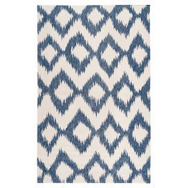 """Anchor your living room seating group or define space in the den with this hand-woven wool rug, showcasing an ikat-inspired diamonds motif for exotic appeal.  Product: RugConstruction Material: 100% WoolColor: Mediterranean blueFeatures:  Hand-wovenNo rug pad requiredMade in India 0.157"""" Pile height Flat pile Reversible  Note: Please be aware that actual colors may vary from those shown on your screen. Accent rugs may also not show the entire pattern that the corresponding area rugs ..."""