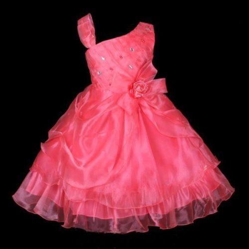 Girls-Party-Bridesmaid-Princess-Child-Birthday-Wedding-Dress-WATERMELON-Size-8