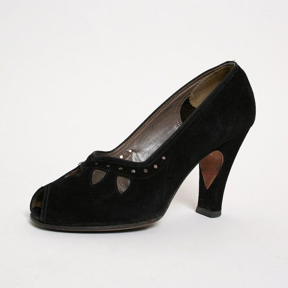 1940s Heels Vintage Black Suede Cocktail High Heels US by zwzzy, $110.00