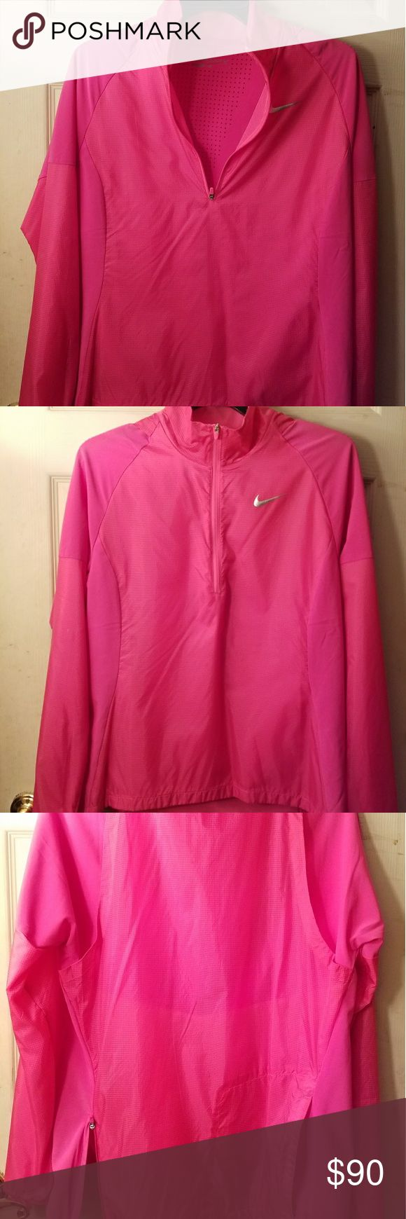 Nike golf women's half zip jacket Packable Nike adaptable wind half zip pink jacket. Made with lightweight nylon fabric and stretch panels to help keep out the elements and let you move freely. Mock neck zips up to chin. Stretch cuffs. Fabric 100% nylon - panels 86% polyester/ 14% spandex - lining 100% polyester. This is a great jacket which I bought and never wore. Nike Jackets & Coats Utility Jackets