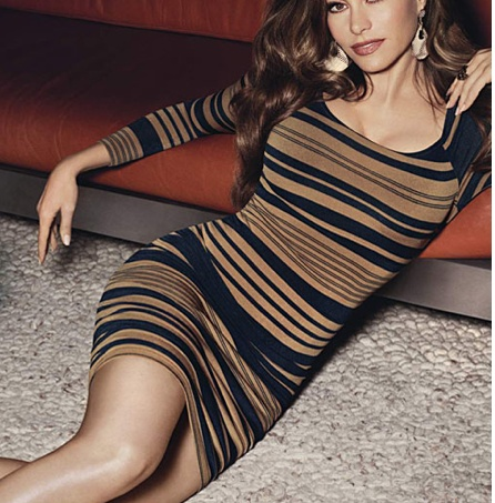Sofia Vargara Exclusive Collection - love the snake print earrings with this stripe dress