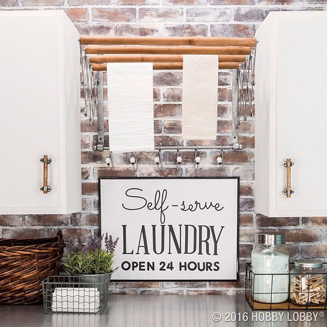 Proof that any space can be inspiring—even your #LaundryRoom! Link in profile. #HobbyLobbyStyle #LaundryRoomDecor