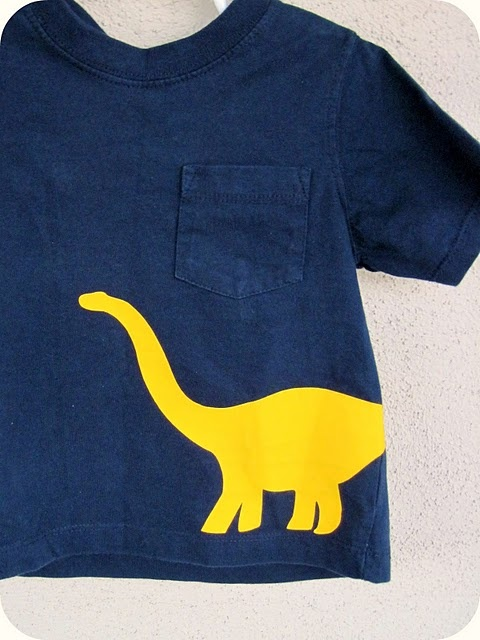 Dinosaur tee made with freezer paper and paint